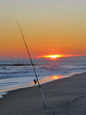 surf fishing sunrise
